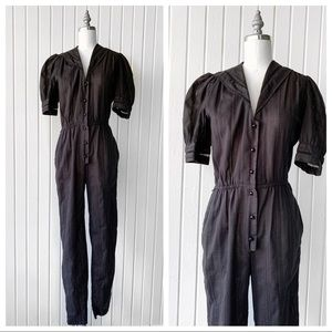 Vintage Black Semi Sheer 80s Jumpsuit